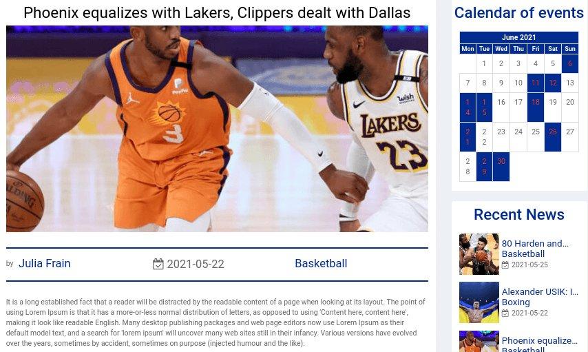 Sport Website Template post