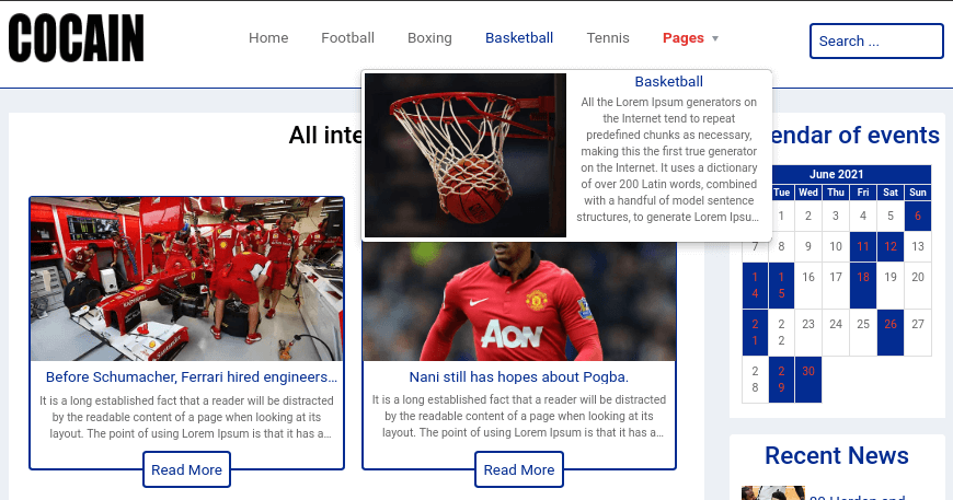 Sport Website Template mega menu
