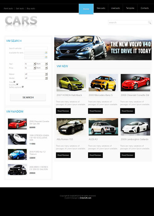 Cars, free vehicle automotive Joomla template 2012