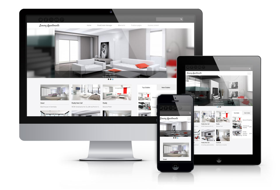 Luxury Apartments, real estate Joomla theme