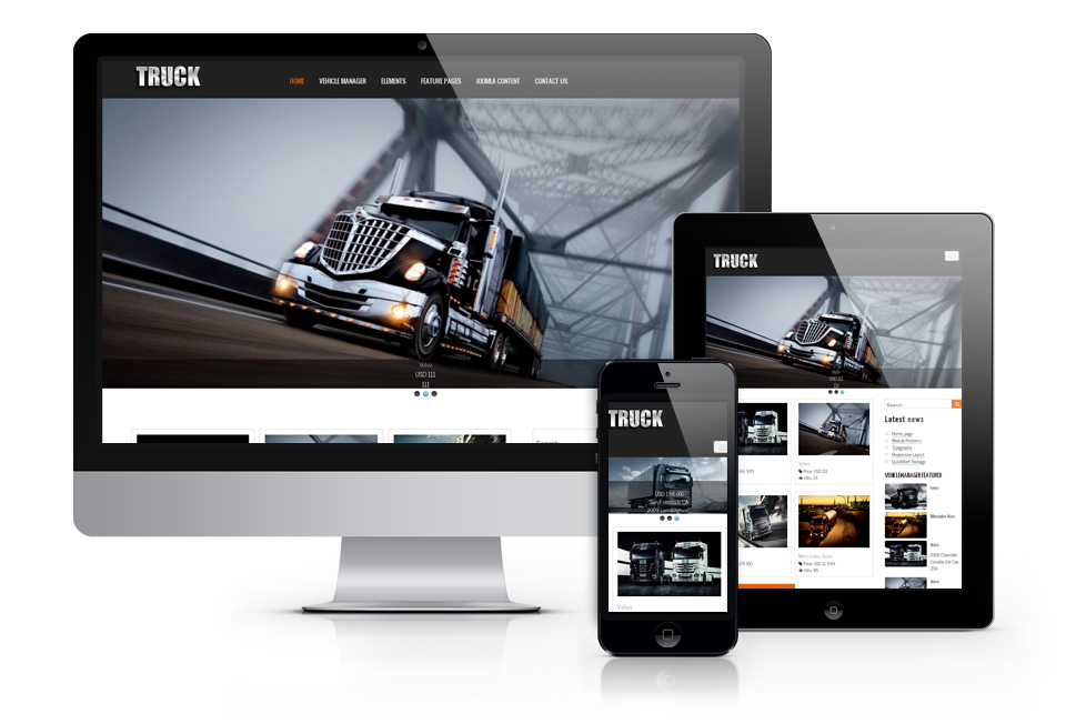 vehicle template for truck website