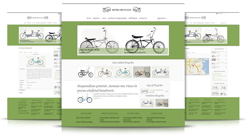 Joomla Template Package for Bicycles Portal and Catalog