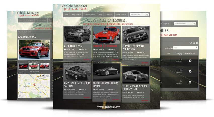 Car Template Joomla Red and Black